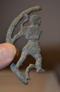 A major fragment from a large, rare and impressive Roman Military Bronze Phalera (Military Breastplate medallion) featuring a Gladiator. SOLD